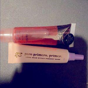 Lip gloss and eye primer